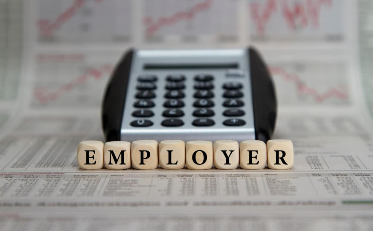 Employer Charitable Matching Programs   A calculator with tiles spelling employer